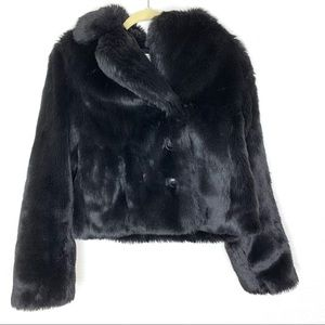 Loft Black Faux Fur Black Jacket/Coat Size 4